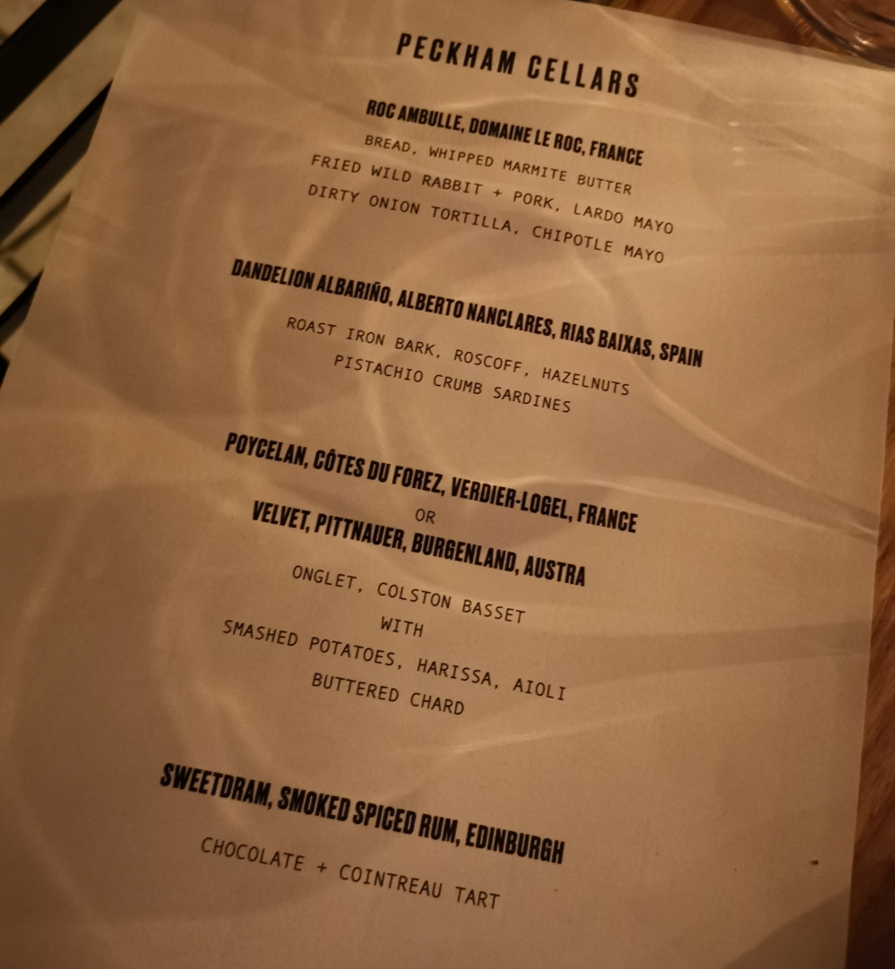 Peckham Cellars Tasting Menu