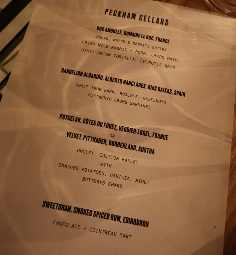 Peckham Cellars Tasting Menu