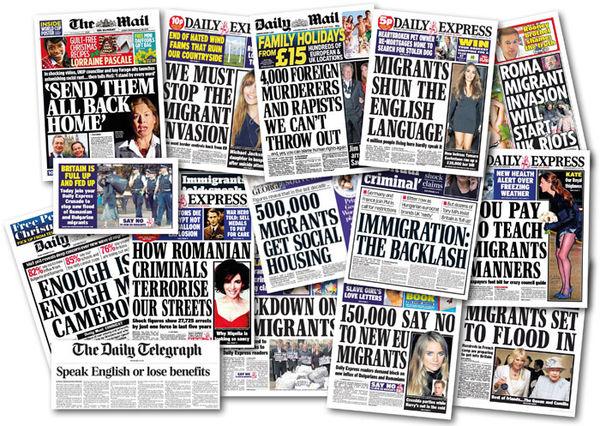 Racist British newspaper headlines